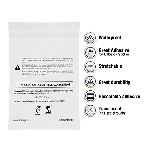 100% Compostable Resealable Bags, S size 85 Count 6 x 9