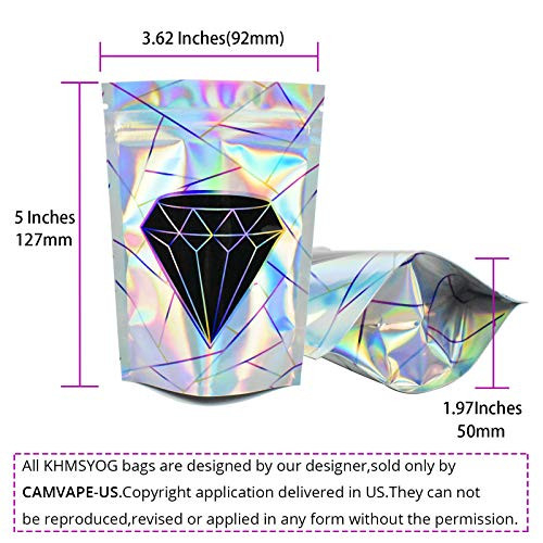100 Pack Resealable Mylar Bags,3.5 Gram Holographic Smell