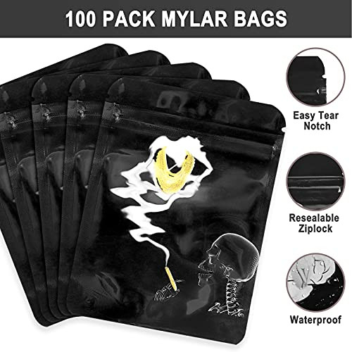 100 Pack Smell Proof Mylar Bags, 3.5 Bags, Printed Design