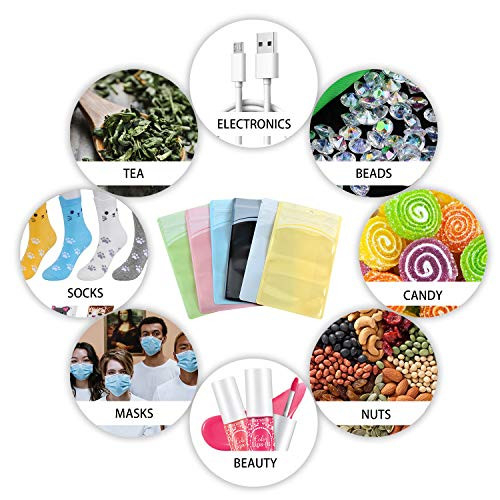 100 Pieces resealable Mylar Bags with Clear Window Smell