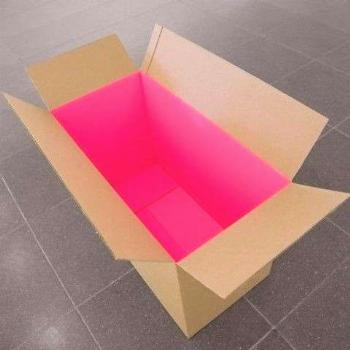Bright pink shipping box interior. Can you imagine the