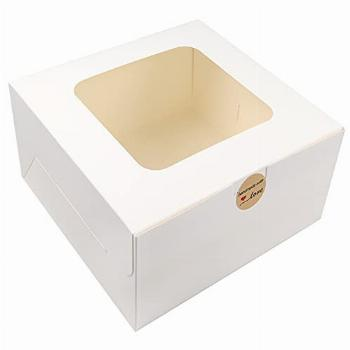 Moretoes 24pcs 10x10x5 Inches Cake Boxes with Window White