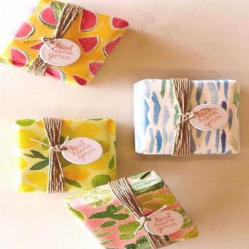 soap packaging ideas - bright colorful wrapping paper for products
