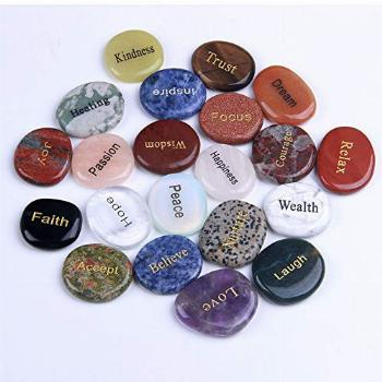 TGS Gems Natural Engraved Inspirational Stones(21 Different