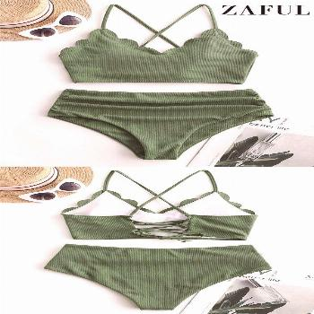 ZAFUL Ribbed Scalloped Lace Up Tummy Control Tankini Swimsuit Tankini set swimsuits are practical y