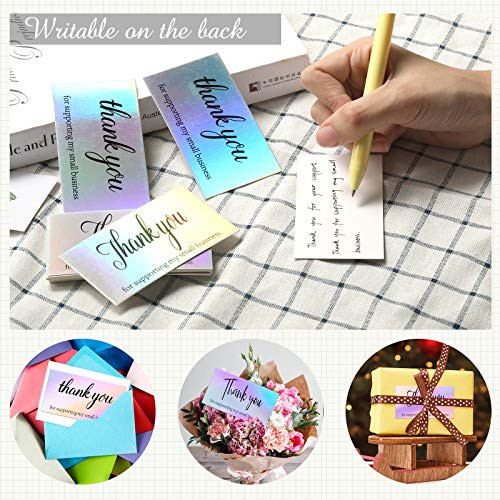 620 PCS Thank You Cards Set, Rainbow Holographic Silver