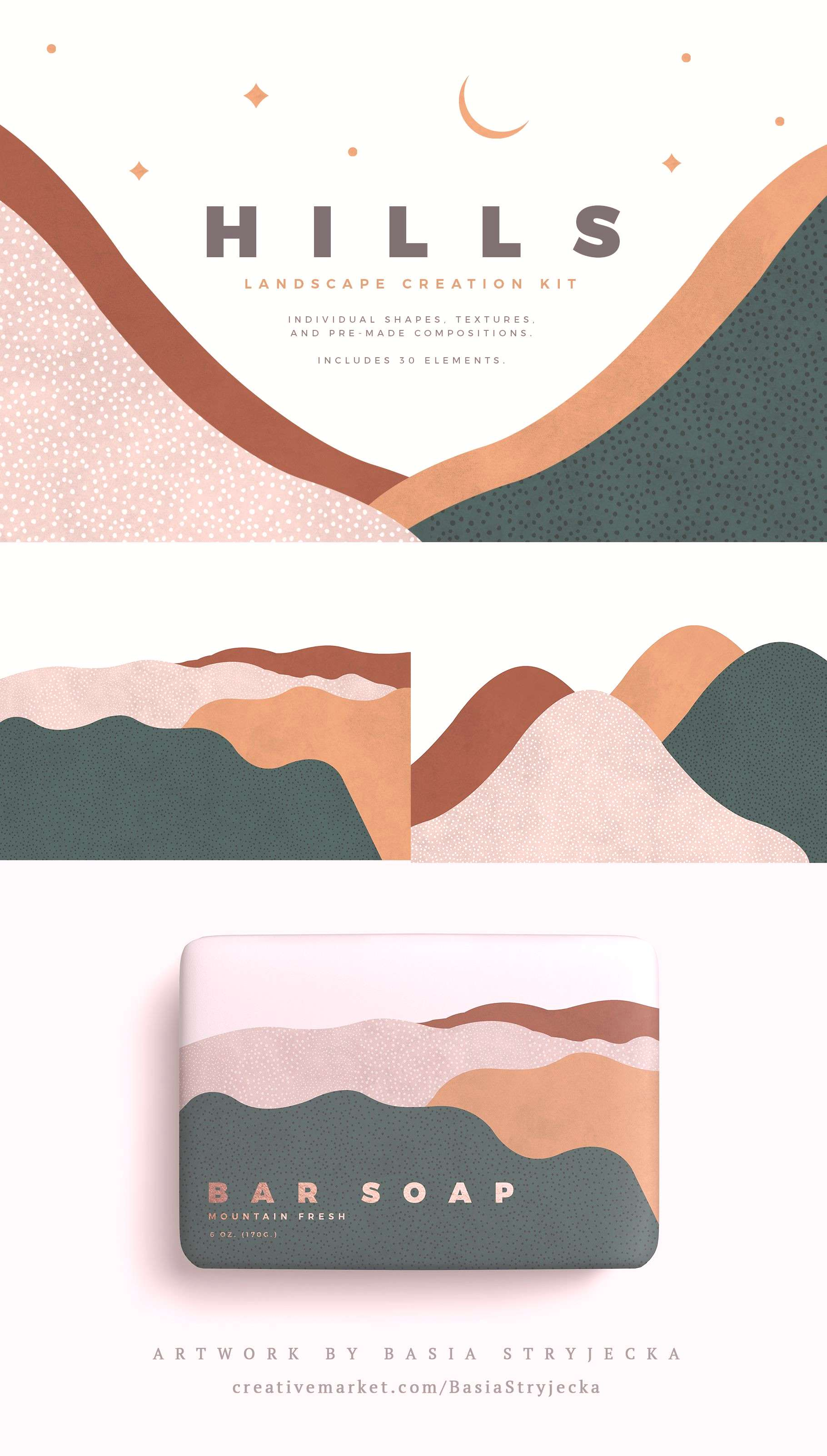 Abstract Landscape Creation Kit Textured watercolor shapes, elements, and pre-made compositions. Pe