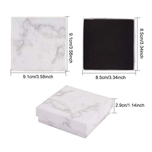 BENECREAT 8 Pack Kraft Square Cardboard Jewelry Boxes Marble