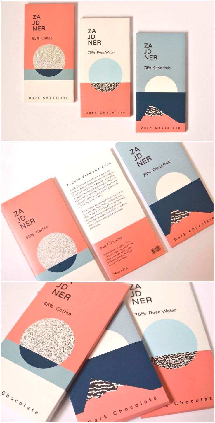 Brand Creations and Packaging Design for Student Concept of Old Postcard Looking Chocolate Design A