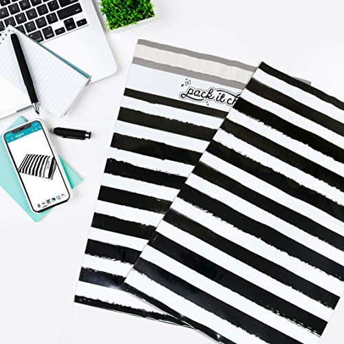 Pack It Chic - 10X13 (100 Pack) Black Watercolor Stripes