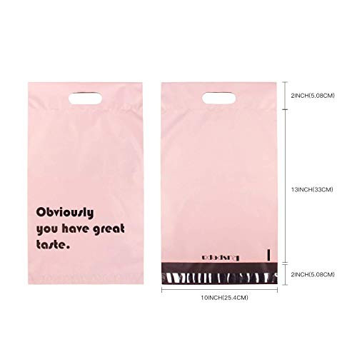 RUSPEPA Poly Mailers 10x13 Inch Pink with Build-in Handle