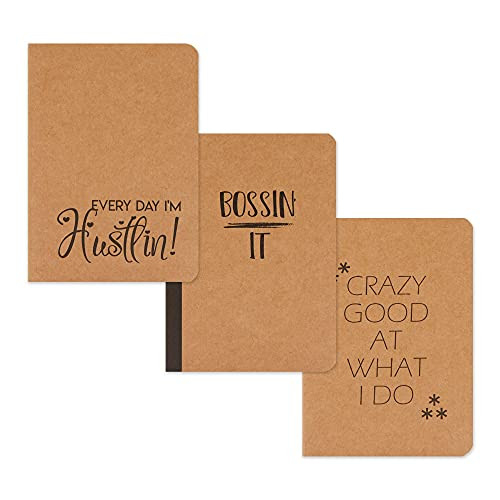 Small Kraft Notebook Journals, Motivational Quotes, 80 Pages